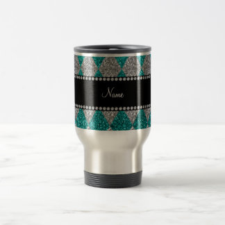 Personalized name bright aqua glitter argyle mugs