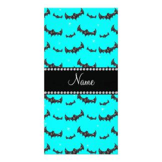 Personalized name bright aqua glitter bats photo card