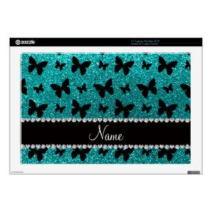 "Personalized name bright aqua glitter butterflies 17"" laptop skin"