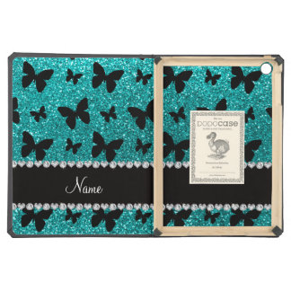 Personalized name bright aqua glitter butterflies iPad air cover