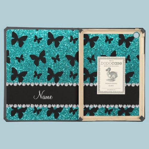 Personalized name bright aqua glitter butterflies iPad air case