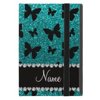 Personalized name bright aqua glitter butterflies case for iPad mini