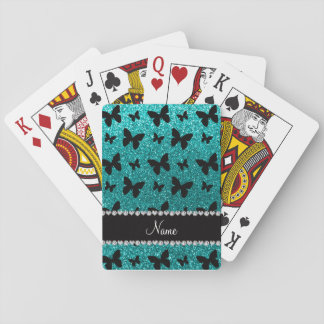 Personalized name bright aqua glitter butterflies playing cards