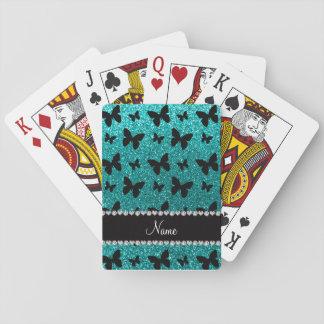 Personalized name bright aqua glitter butterflies poker deck