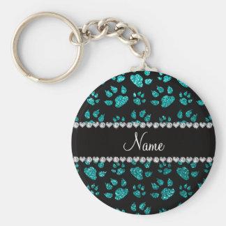 Personalized name bright aqua glitter cat paws key chain