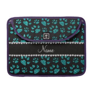 Personalized name bright aqua glitter cat paws sleeves for MacBook pro