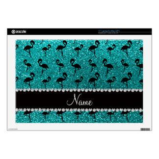 Personalized name bright aqua glitter flamingos laptop skin