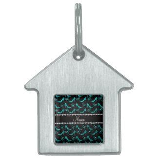 Personalized name bright aqua glitter high heels pet ID tags