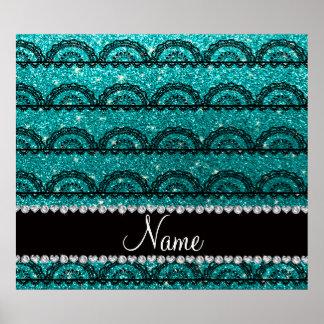 Personalized name bright aqua glitter lace posters