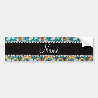 Personalized name bright aqua glitter rainbows bumper sticker