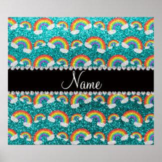 Personalized name bright aqua glitter rainbows poster