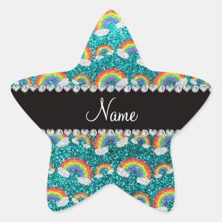 Personalized name bright aqua glitter rainbows star sticker