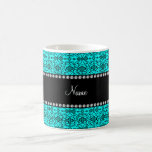 Personalized name bright aqua moroccan trellis coffee mug