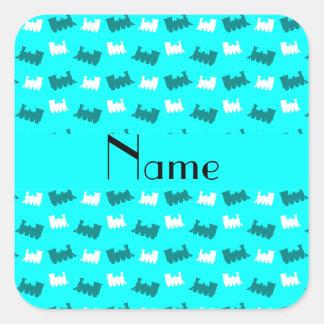 Personalized name bright aqua train pattern square sticker