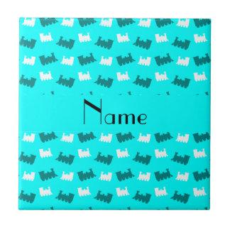 Personalized name bright aqua train pattern tile