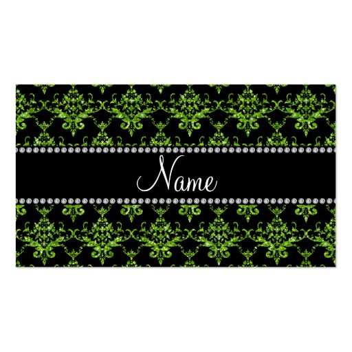 Personalized name bright green damask business card template