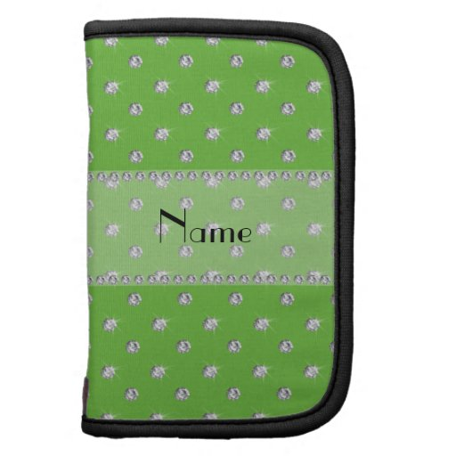 Personalized name bright green diamonds planner
