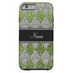 Personalized name bright green glitter argyle tough iPhone 6 case