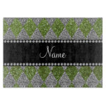 Personalized name bright green glitter argyle cutting board