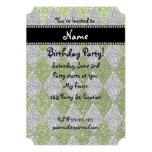 "Personalized name bright green glitter argyle 5"" x 7"" invitation card"