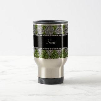 Personalized name bright green glitter argyle mug