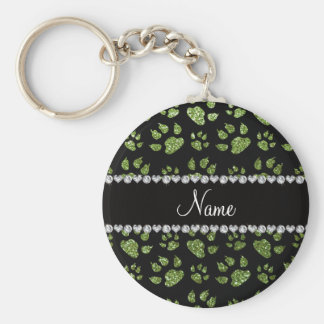 Personalized name bright green glitter cat paws basic round button keychain