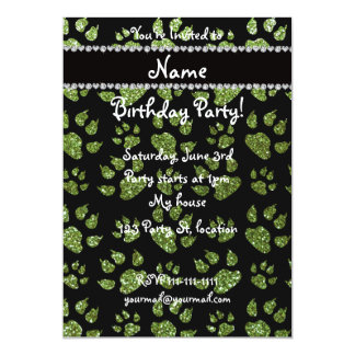 Personalized name bright green glitter cat paws 5x7 paper invitation card