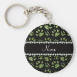 Personalized name bright green glitter cat paws keychains