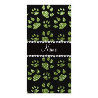 Personalized name bright green glitter cat paws custom photo card