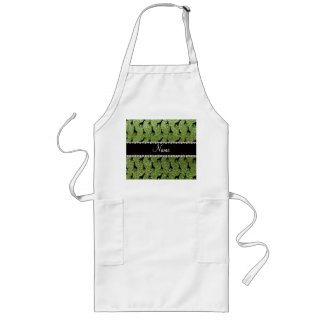 Personalized name bright green glitter giraffes aprons