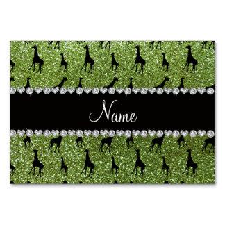 Personalized name bright green glitter giraffes card