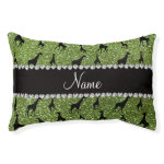 Personalized name bright green glitter giraffes small dog bed