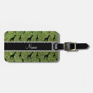 Personalized name bright green glitter giraffes tag for luggage