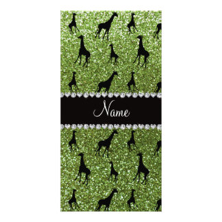 Personalized name bright green glitter giraffes photo card