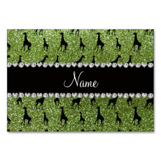 Personalized name bright green glitter giraffes table card