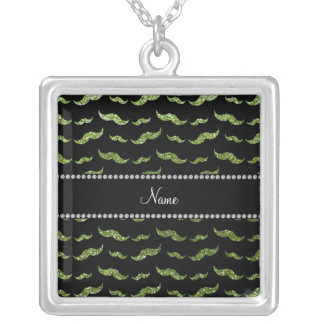 Personalized name bright green glitter mustaches jewelry