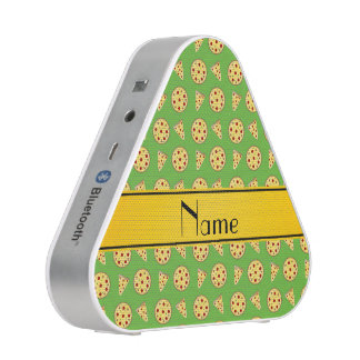 Personalized name bright green pizzas bluetooth speaker