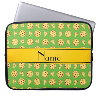 Personalized name bright green pizzas computer sleeves