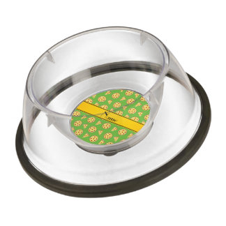 Personalized name bright green pizzas pet bowl