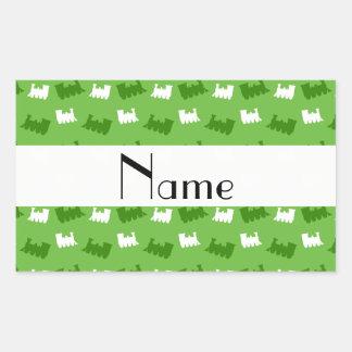 Personalized name bright green train pattern sticker