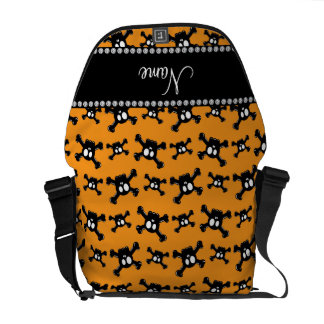 Personalized name bright orange skulls pattern courier bags