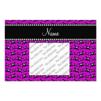 Personalized name bright purple skulls pattern photograph