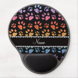 Personalized name bright rainbow glitter cat paws gel mouse pad