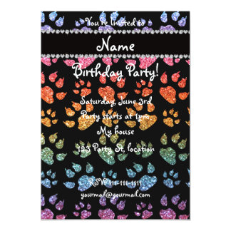 Personalized name bright rainbow glitter cat paws 5x7 paper invitation card