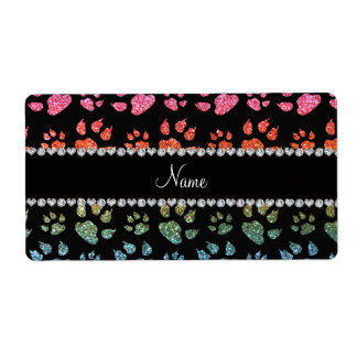 Personalized name bright rainbow glitter cat paws label