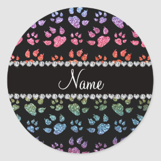 Personalized name bright rainbow glitter cat paws sticker