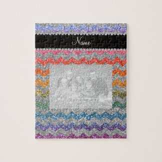 Personalized name bright rainbow glitter chevrons jigsaw puzzles