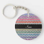 Personalized name bright rainbow glitter chevrons key chain