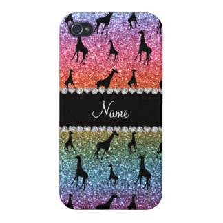 Personalized name bright rainbow glitter giraffes case for iPhone 4