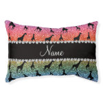 Personalized name bright rainbow glitter giraffes small dog bed